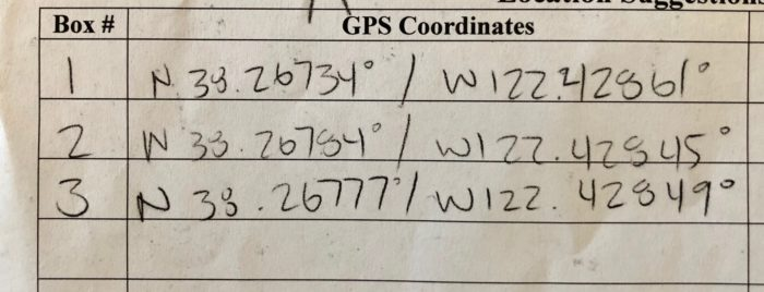 GPS co-ordinates of the 3 Hydeout Sonoma owl boxes